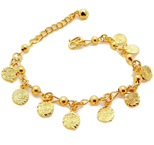 arrawana77 Coins 22K 23K 24K Thai Baht Yellow Gold Plated Link Bracelet 6-7.5 Inches ()