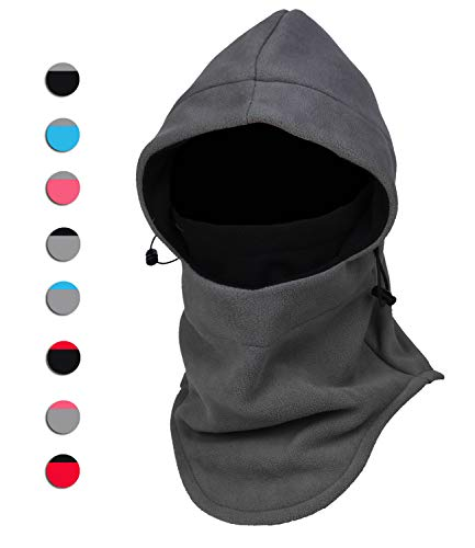 Purjoy Multipurpose Use 6 in 1 Thermal Warm Fleece Balaclava Hood Police Swat Ski Bike Wind Stopper Full Face Mask Hats Neck Warmer Outdoor Winter Sports Snowboarding Cap(Grey+Black)