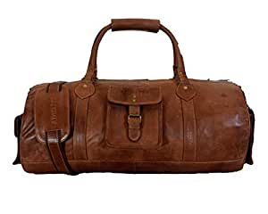 Adwaita 24 inch Handmade Extra Large Top Grain Goat Leather Duffle Weekender Bag with rain Cover