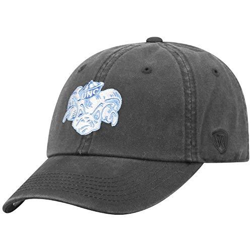 Top of the World NCAA Men's Hat Adjustable Vault Vintage Charcoal, North Carolina Tar Heels Blue, ()