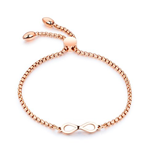 Infinity Symbol Charm Bean Lock Adjustable Link Chain Bracelet Stainless Steel Women Jewelry,Rose Golden