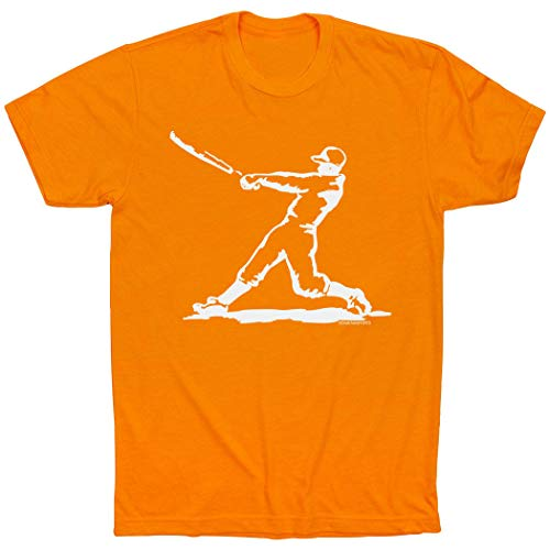 - ChalkTalkSPORTS Baseball Player T-Shirt | Baseball Tees Orange | Adult X-Large