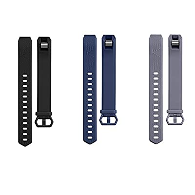 Adepoy Fitbit Alta Bands and Alta HR Bands, Newest Adjustable Replacement Wristband with Secure Metal Clasp for Fitbit Alta HR and Fitbit Alta (3 Pack: Black+Navy blue+Gray, Large 6.7''-8.1'')