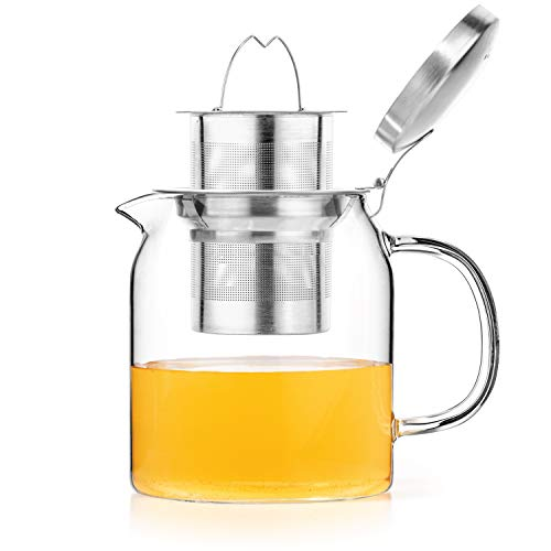 (Tealyra - 20-ounce PYXIS GLASS TEAPOT - Stove-Top Safe - Small Borosilicate Glass Pot - Kettle - w/Removable Stainless-Steel Infuser - Best For Loose Leaf or Blooming Tea - 600ml - Makes 2-3 cups)