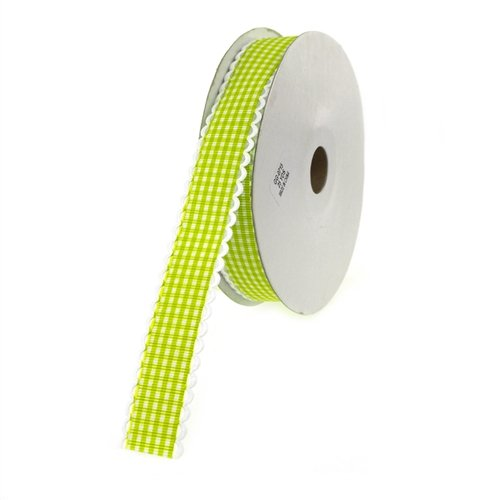 Homeford Firefly Imports Gingham Polyester Ribbon Scalloped-Edge, 7/8-Inch, 25 Yards, Apple Green, 7/8