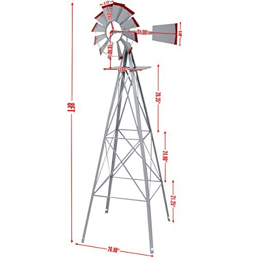 New 8Ft Tall Windmill Ornamental Wind Wheel Silver Gray And Red Garden Weather Vane by Windmills & Wind Spinners (Image #2)