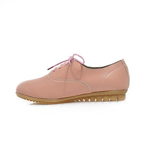 Amoonyfashion Femmes Talons Bas Solide Lace Up Matériau Souple Rond Fermé Orteils Pompes-chaussures Rose