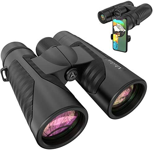 12×42 Binoculars for Adults with Phone Adapter – 18mm Large View Eyepiece & Super Bright Waterproof Binoculars for Bird Watching, Hunting, Sports