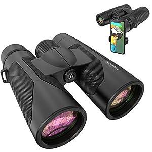 12×42 HD Binoculars for Adults with Universal Phone Adapter – High Power Binocularswith Super Bright and Large View- Lightweight Waterproof Binocularsfor Bird Watching Hunting Outdoor Sports Travel