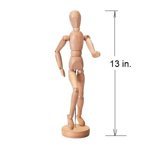 13 in. High Painting, Drawing & Art Craft Tool Wooden Doll Artist Manikins Figure Figurine All Moving Parts Learn to Create Proffessional Pictures