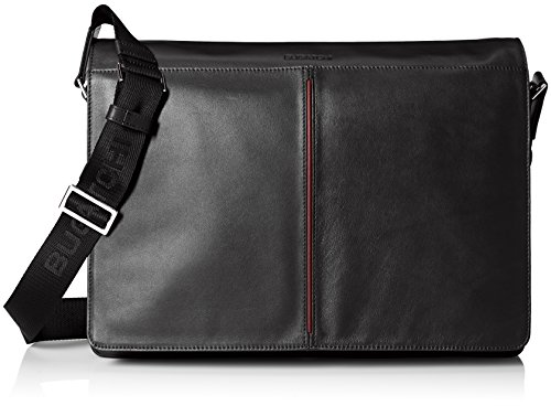 BUGATCHI Men's Leather Flap Cover Messenger Bag by Bugatchi