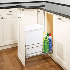 Single cabinet mounted pull out trash bin for Bins for kitchen cabinets