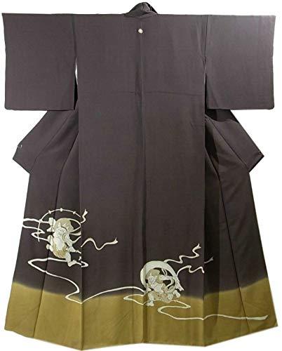 擁する報復振りかけるリサイクル 着物 色留袖 風神と雷神 裄66.5cm 身丈165cm  正絹 袷