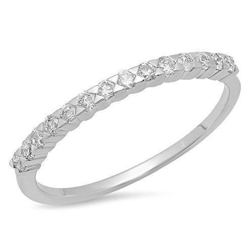 0.30 Carat (ctw) 14K Gold Round Cut White Diamond Anniversary Wedding Stackable Band 1/3 CT