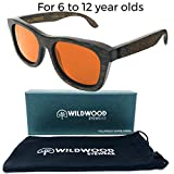 Wildwood Kids Wayfarer Dark Bamboo Polarized Sunglasses - Ages 6 to 12 (Dark Bamboo, Red Mirror)