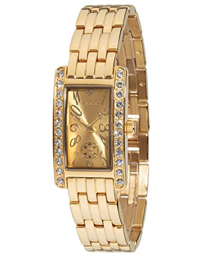 Yves Camani Amance II Women's Wrist Watch Quartz Analog Golden Dial Gold Plated Stainless Steel Casing & Strap