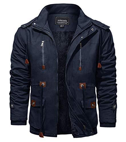 KEFITEVD Winter Jackets for Men Fleece Windbeaker Windproof Hooded Bomber Cargo Jacket Military Coats with Multi Pockets
