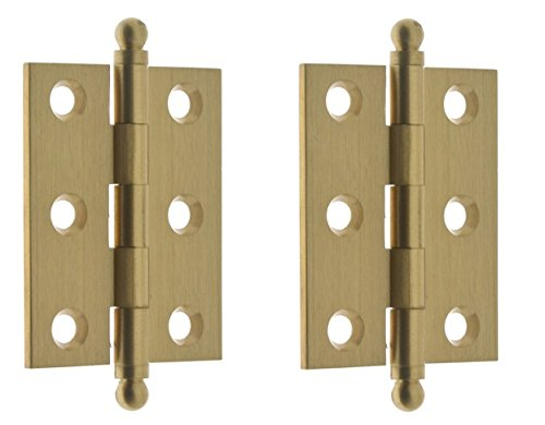 Solid Brass Cabinet Hinge (Set of 2) Size: 2'' H x 1.5'' W x 4.25'' D, Finish: Satin (Brass Accessory Cabinet Finials)