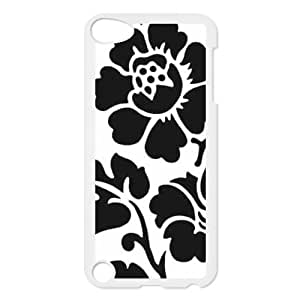 Custom Black and White Flower Design Plastic Case for Ipod Touch 5 5th Generation