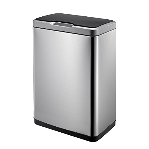 EKO Mirage 50L Motion Sensor Trash Can, Stainless Steel Finish
