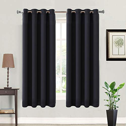 (Balichun 99% Blackout 2 Panels Curtains Thermal Insulated Grommets Drapes for Bedroom 52 by 63 Inch Black)