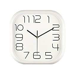 Foxtop Silent Non Ticking Wall Clock Battery Operated, Decorative Square White Quartz Wall Clock Easy to Read for Home Kitchen Office School Living Room Indoor Use