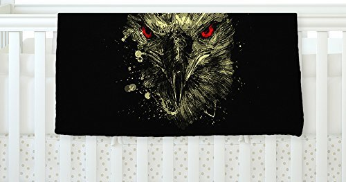 KESS InHouse BarmalisiRTB Eagle Black Yellow Fleece Baby Blanket 40 x 30 [並行輸入品]   B077YZWMBK