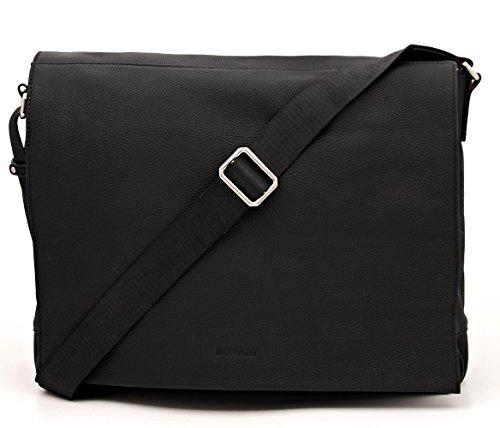 Borsa A Tracolla In Vera Pelle Bovari Borsa A Tracolla Borsa Per Notebook (fino A 15.6 Pollici) Modello Metz - 39x31x9 Cm - Nero / Nero / Noir - Edizione Premium Premium