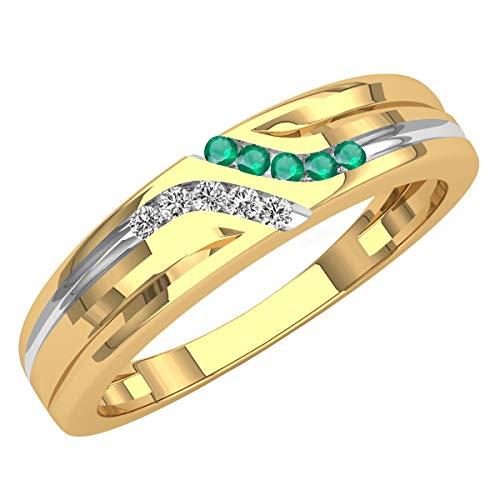 Dazzlingrock Collection 14K Round Cut Emerald & White Diamond Mens Channel Set Fashion Wedding Band, Yellow Gold, Size 7