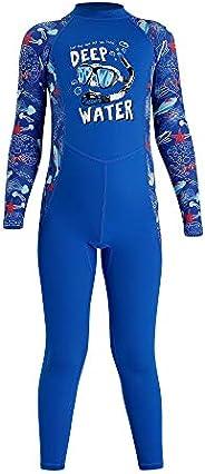 AceAcr Kids Long Sleeve Swimsuit Sun Protection One Piece Swimwear UPF 50+ Rash Guard