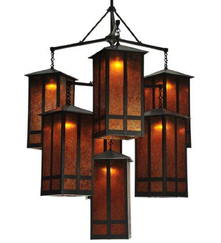 - Meyda Tiffany Custom Lighting 110093 Church Street 7-Light Chandelier, Craftsman Brown Finish with Amber Mica Panels, 58