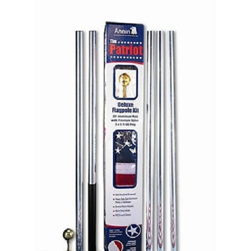 Annin Flagmakers 742360R 20-Ft. Patriot Aluminum Pole Kit - Quantity 3