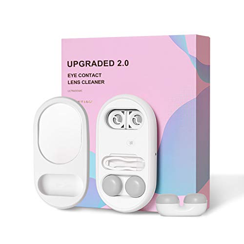 CONBOLA Ultrasonic Cleaner Contact Lenses Case Colored Contact Lenses Case,Contact Lens Solution USB Rechargeable 5 in 1 Contact Mini Case,Portable for Travel,Date etc.White