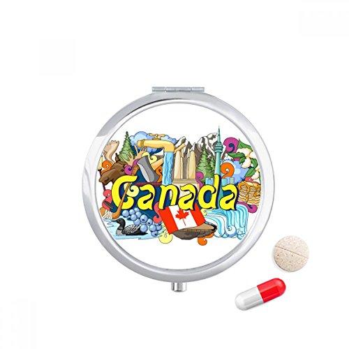 Rocky Mountains CN Tower Maple Canada Travel Pocket Pill case Medicine Drug Storage Box Dispenser Mirror Gift