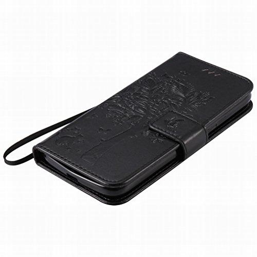 Custodia Motorola Moto G4 Play Cover Case, Ougger Alberi Gatto Printing Portafoglio PU Pelle Magnetico Stand Morbido Silicone Flip Bumper Protettivo Gomma Shell Borsa Custodie con Slot per Schede (Ner