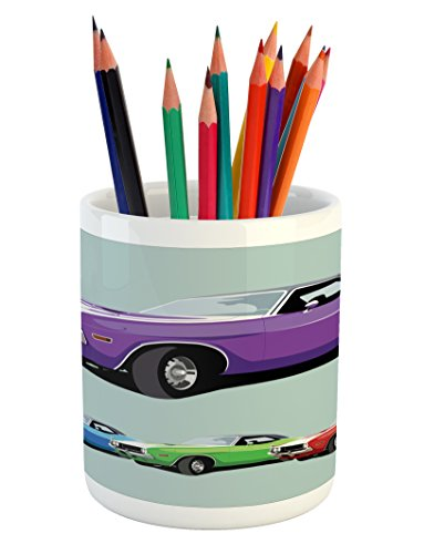 (Lunarable Manly Pencil Pen Holder, American Muscle Car History Auto Sport Roadster Competition Generation, Printed Ceramic Pencil Pen Holder for Desk Office Accessory, Purple Blue Green Red)