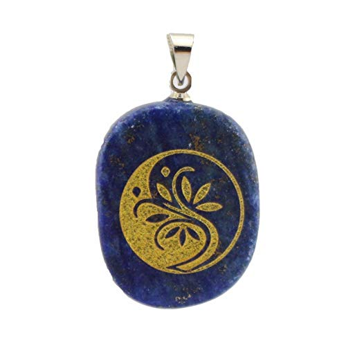 FidgetKute Natural Crystal Gem Stone Carve Life Tree Amulet Oval Pendant 20mmx25mmx6.5mm Lapis ()