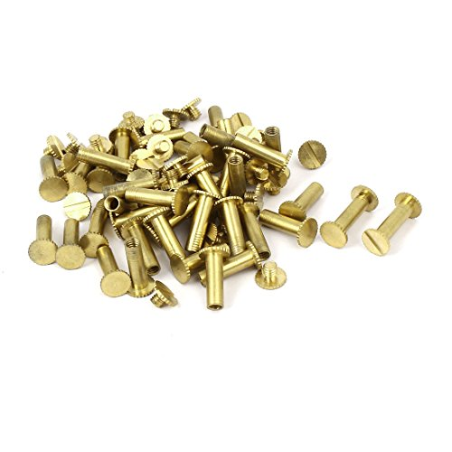 uxcell Photo Albums Scrapbook M5x15mm Brass Slotted Knurling Binding Screw Post 50pcs