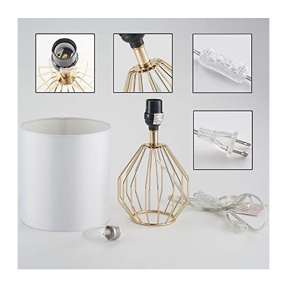 COTULIN Table Lamp,Gold Lamps for Bedroom,Modern Hollowed Out Base Small Table Lamp with White Fabric Shade for Living Room - Size:Height 14.37 inch,diameter 7.09 inch.Please note the size before purchasing. Input:AC 110V-120V,max 60W,E26 socket,fits LED CFL incandescent bulbs(bulb not included). High Quality:All of our products are produced in the standard factory,possessing long service life. - lamps, bedroom-decor, bedroom - 41C0r%2BUuyuL. SS570  -