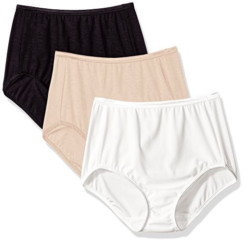 (Vanity Fair Women's 3 Pack Illumination Brief Panty 13309, Star White/Rose Beige/Midnight Black, 9)