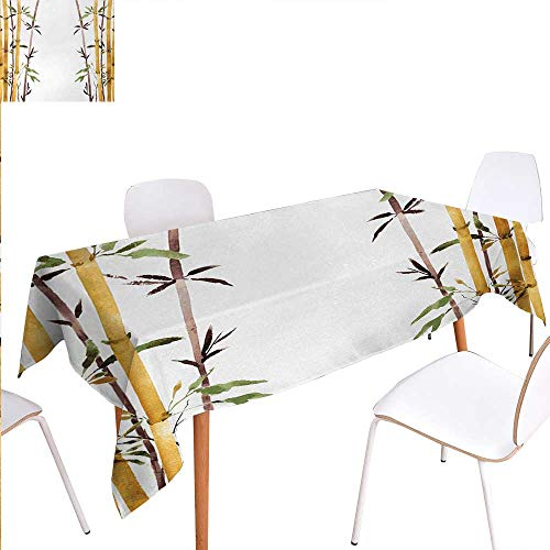 Grove L-desk Park (Warm Family Bamboo Rectangular Tablecloth Bamboo Grove Calm Your Mind Slow Down Zen Relax Hand Drawn Style Artwork Oblong Wrinkle Resistant Tablecloth 70