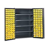 Edsal BC4803G Welded Bin Pocket Door Storage Cabinet with 128 Bins and 4 Shelves, Assembled, 700 lb. Capacity, 48'' W x 24'' D x 72'' H, Industrial Gray/Yellow