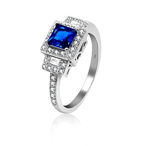 Sapphire Cross Christian (Uloveido 925 Sterling Silver Square & Round Blue Zircon Christian Cross Rings Square Cushion Cut Lab Sapphire Blue CZ Half Eternity Wedding Ring 3g (Blue, Size 9) JZ102)