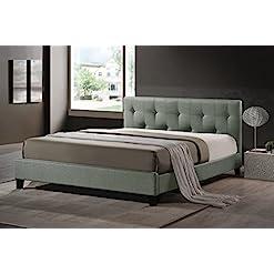 Bedroom Baxton Studio Annette Linen Modern Bed with Upholstered Headboard, Full, Grey modern headboards