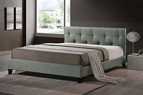 Bedroom Baxton Studio Annette Linen Modern Bed with Upholstered Headboard, Full, Grey modern headboards