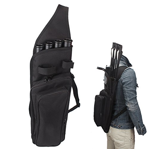 n 4-Tubes Back Field Quiver Training Archery Arrow Quiver for Field Tips Arrows Takedown Bow (BLACK) ()