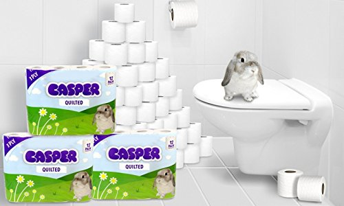 Casper Three Ply Quilted Luxury Toilet Roll - 60 Soft Toilet Rolls ...