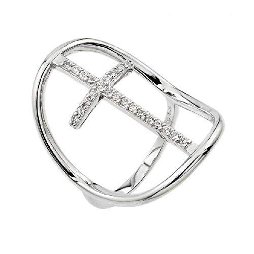 (SURANO DESIGN JEWELRY Sterling Silver CZ Stones Cross Open Oval Shape Ring (7))