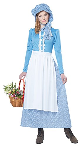 Oregon Trail Halloween Costume (California Costumes Women's Pioneer Woman Costume, Blue/White,)