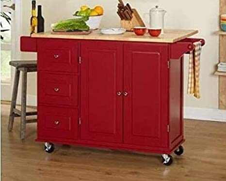 Kitchen Island Cart, Utility - 3 Drawer, Drop Leaf, Wood, Red